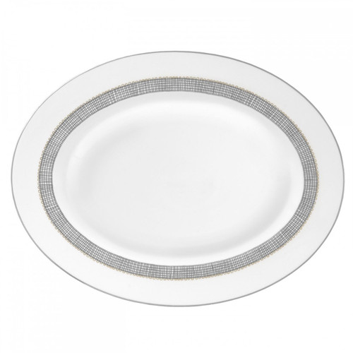 Vera Wang Gilded Weave Platinum Oval Platter 13.75 Inch