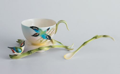 Franz Porcelain Bamboo Song Bird Cup Saucer Spoon Set FZ00570