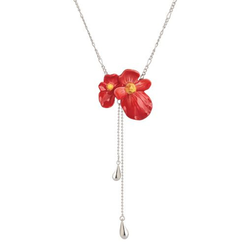 Franz Porcelain Begonia Rhodium Plated Brass & Porcelain Necklace FJ00279