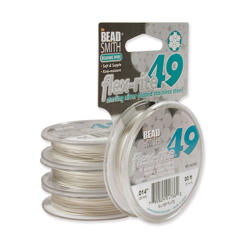 Plated Flex-Rite 49 .014 Inch Diameter 30Ft Strand Wire Sterling Silver CRD829/14-30