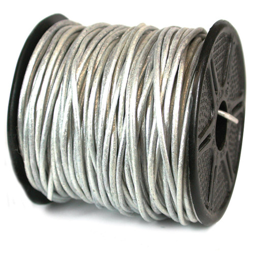 1300 2 mm. 25 Yard Metallic Silver Leather Cord CRD845/2.0-25