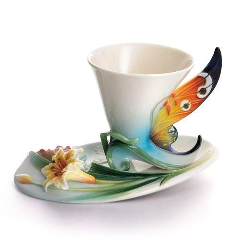 Franz Porcelain Buckeye Butterfly Cup Saucer Set FZ01673