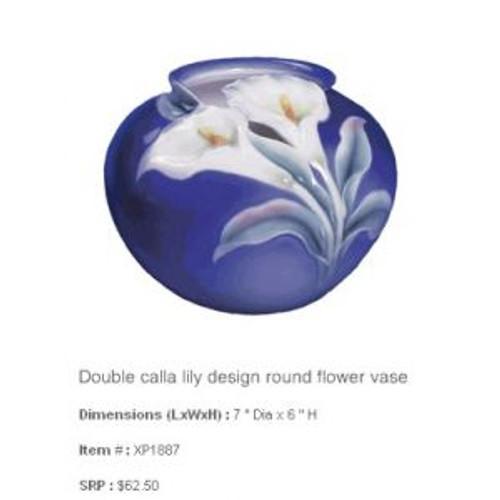 Franz Porcelain Double Calla Lily Round Flower Vase XP1887