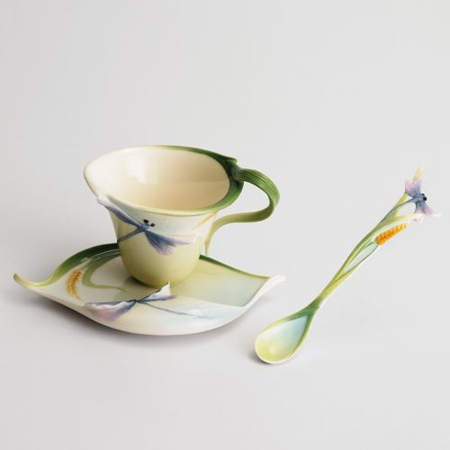 Franz Porcelain Dragonfly Cup Saucer Spoon Set FZ00028