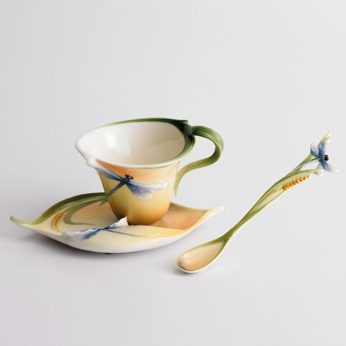 Franz Porcelain Dragonfly Orange Porcelain Cup Saucer Spoon Set FZ00212
