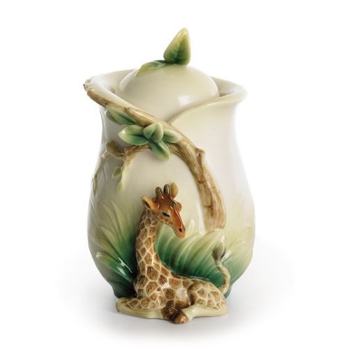 Franz Porcelain Endless Beauty Giraffe Sugar Jar With Cover FZ01298