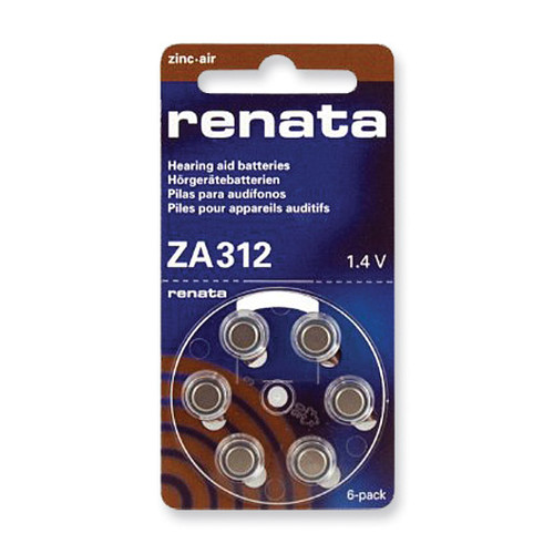 Type 312 Renata Hearing Aid Batteries Package of 6 RB312Z