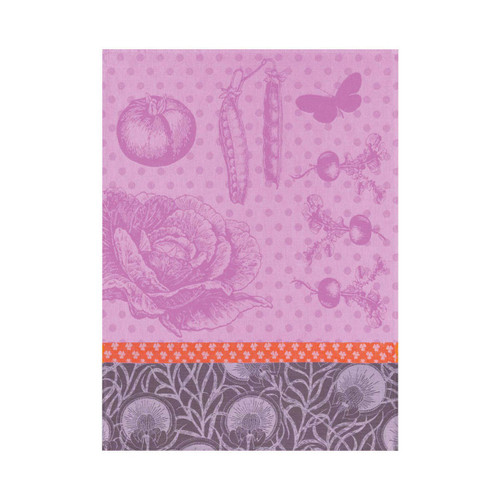 Le Jacquard Francais Tea Towel Au Potager Anemone 24 x 31 Pure Cotton Set of 4