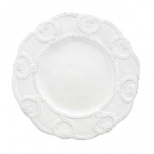 Bella Bianca Antique Lace Salad Dessert Plate by Arte Italica Pewter