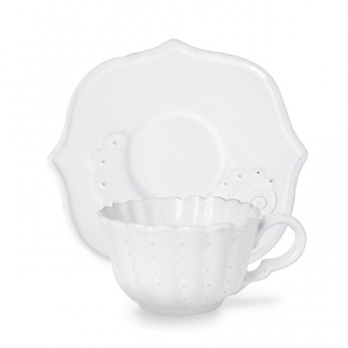 Bella Bianca Beaded Flora Cup & Saucer by Arte Italica Pewter