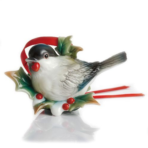 Franz Porcelain Holiday Beginnings Chickadee Ornament FZ02288