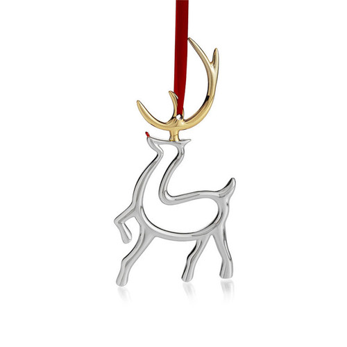 Nambe Reindeer Ornament Silver Plate with Gold Plate Accents