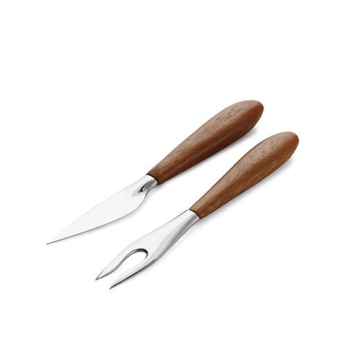 Nambe Curvo Cheese Set - Cheese Knife and Fork Chrome Plate Wood