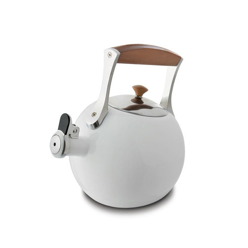 Nambe Meridian Tea Kettle White Enameled Steel Stainless Steel Chrome Wood