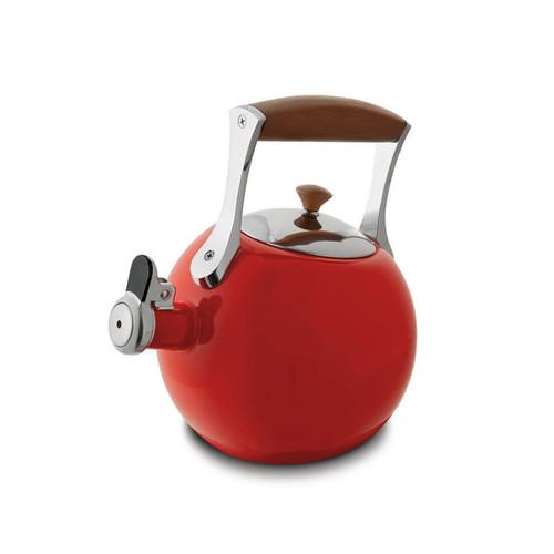 Nambe Meridian Tea Kettle Red Enameled Steel Stainless Steel Chrome Wood