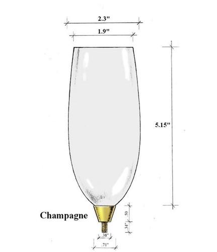 Edgar Berebi Gold Champagne Flute Top Bowl Glass