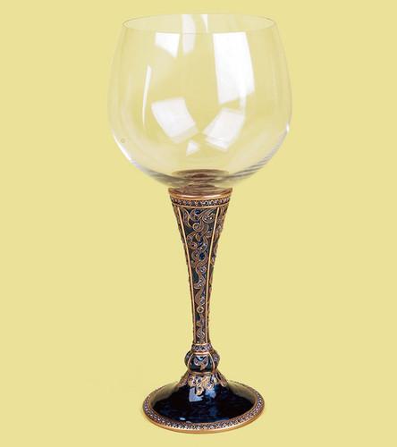 Edgar Berebi Brussels Water Wine Champagne Stem Midnight Blue Sapphire Goldplate