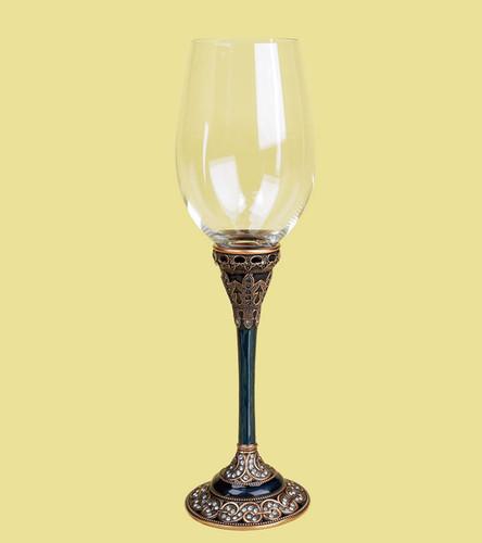 Edgar Berebi Alexandria China Blue Sapphire Water Wine Champagne Stem