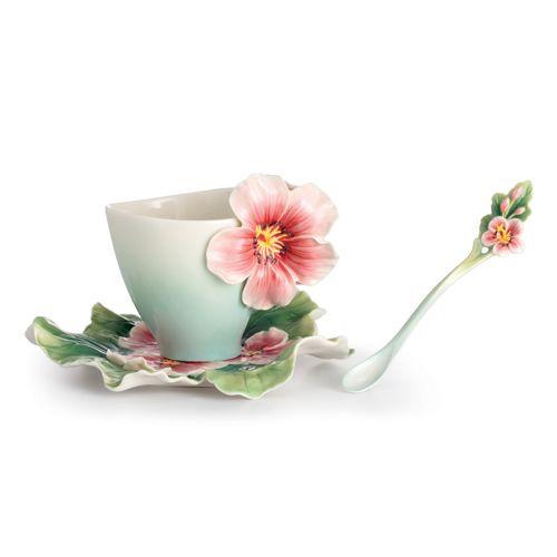 Franz Porcelain Joyful Geranium Cup Saucer Spoon Set FZ02372