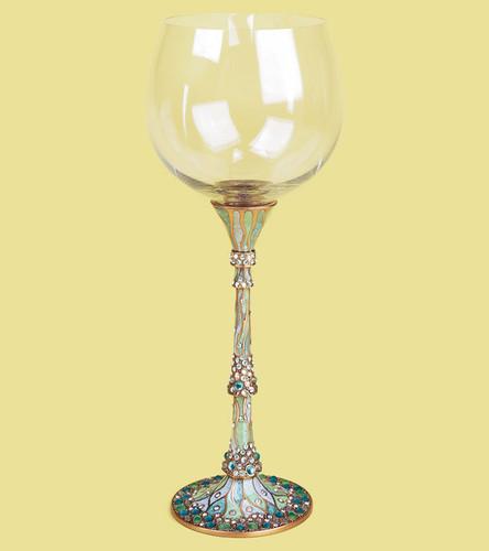 Edgar Berebi Catalina Celadon Pearl Teal Water Wine Champagne Gold Plate Stem