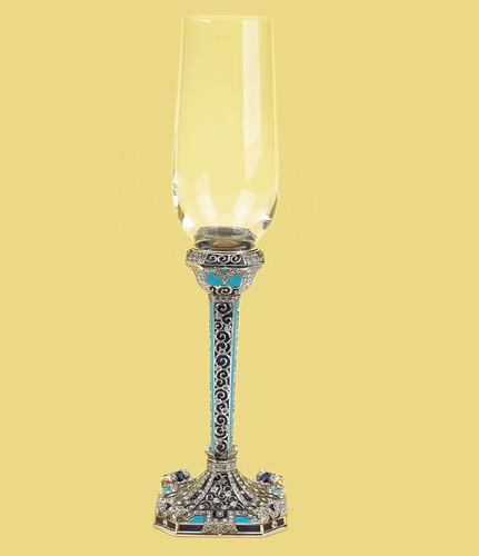 Edgar Berebi Costa Azul Sapphire Silver Plate Wine Water Champagne Stem