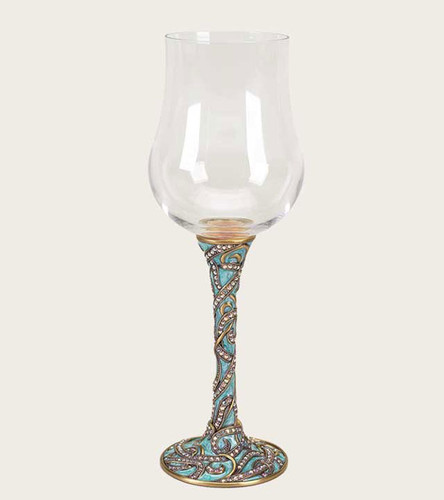 Edgar Berebi Gilda Elegant Teal Brass Wine Water Champagne Flute Stem