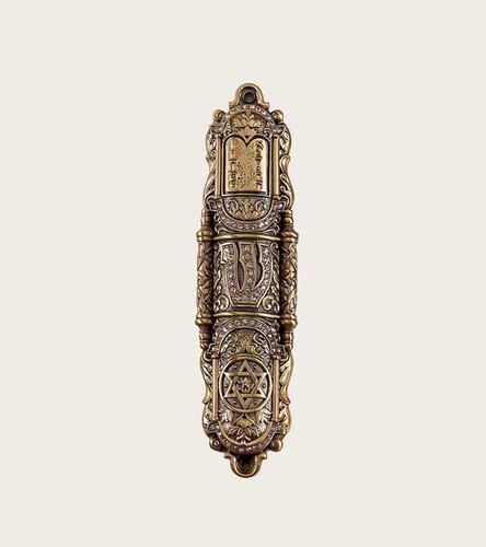 Edgar Berebi Mezuzah Silk Gold Plate
