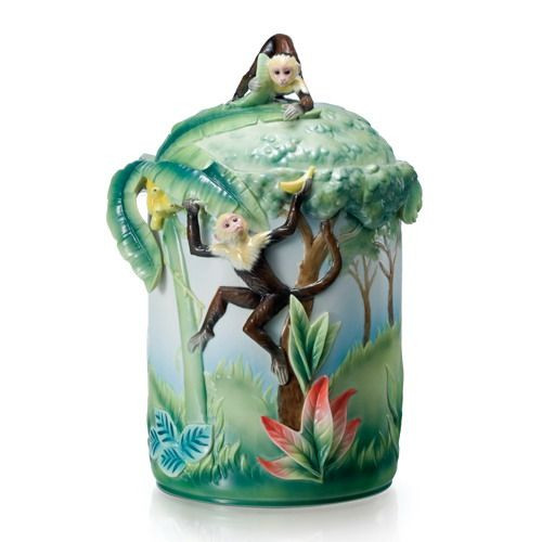Franz Porcelain Jungle Fun Monkey Cookie Jar FZ02074