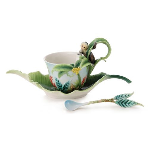 Franz Porcelain Jungle Fun Monkey Cup Saucer Spoon Set FZ02002