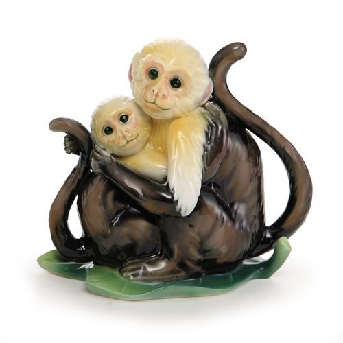 Franz Porcelain Jungle Fun Monkey Figurine Mother & Daughter FZ02013B