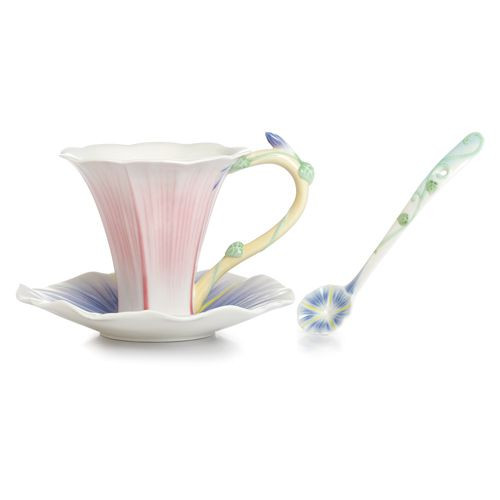 Franz Porcelain Les Jardin Morning Glory Flower Cup Saucer Spoon Set FZ02336