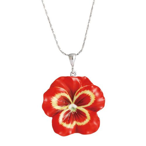 Franz Porcelain Pansy Flower Rhodium Plated Brass & Porcelain Necklace FJ00222