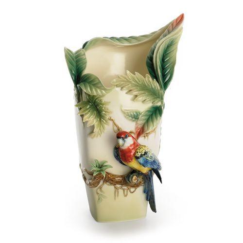 Franz Porcelain Paradise Calling Macaw Bird Large Vase FZ00747