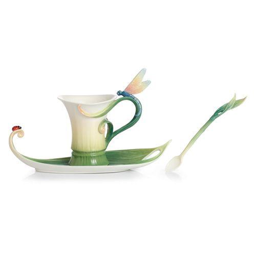 Franz Porcelain Peace & Harmony Bamboo Cup Saucer Spoon Set FZ02120