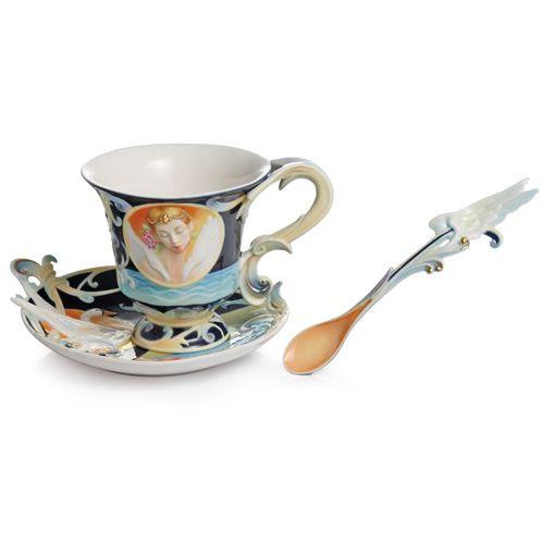 Franz Porcelain Prima Ballerina Cup Saucer Spoon Set FZ02134