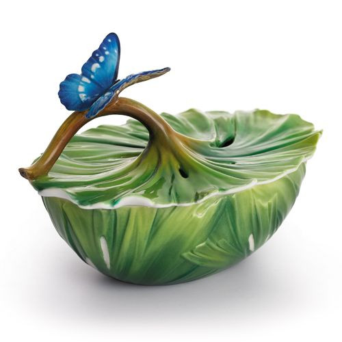 Franz Porcelain Rain Forest Little Dwellers Butterfly Ornamental Covered Box FZ01867