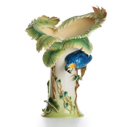 Franz Porcelain Rain Forest Parrot Vase (Limited Edition 2,000) FZ00829