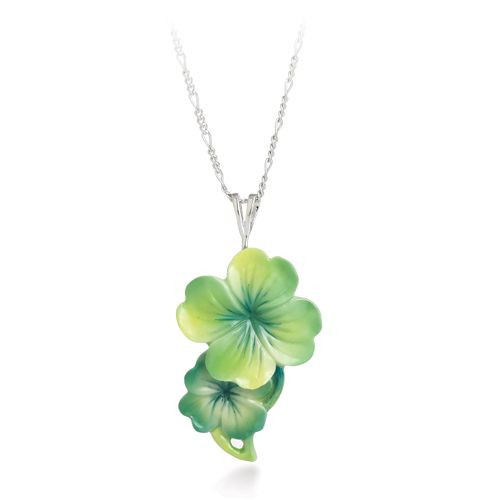 Franz Porcelain Shamrock Flower Rhodium Plated Brass Porcelain Necklace FJ00244
