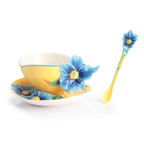 Franz Porcelain Strength And Will Blue Poppy Cup Saucer Spoon Set FZ02871