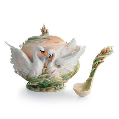 Franz Porcelain Swan Lake Soup Tureen & Ladle Set FZ01558