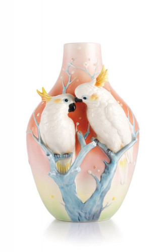 Franz Porcelain Sweet Companions Sulphur Crested Cockatoo Vase FZ03052