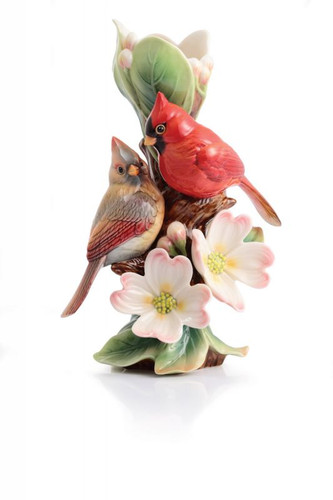 Franz Porcelain Tender Affection Cardinals and Dogwood Small Vase FZ02934