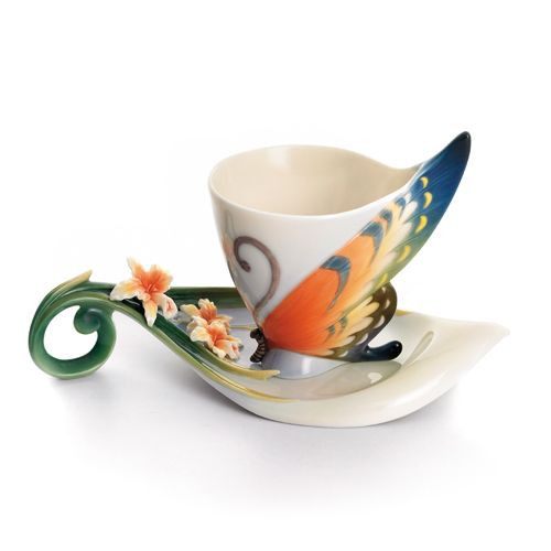 Franz Porcelain Tiger Swallowtail Butterfly Cup Saucer Set FZ01672