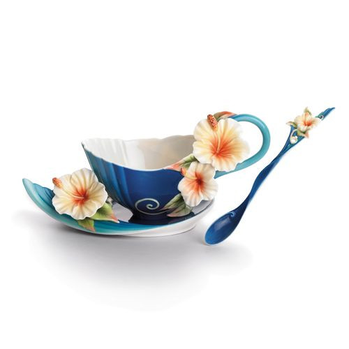 Franz Porcelain Tropical Beauty Hibiscus Flower Cup Saucer Spoon Set FZ01779