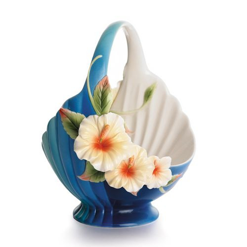 Franz Porcelain Tropical Beauty Hibiscus Flower Ornamental Basket FZ01790