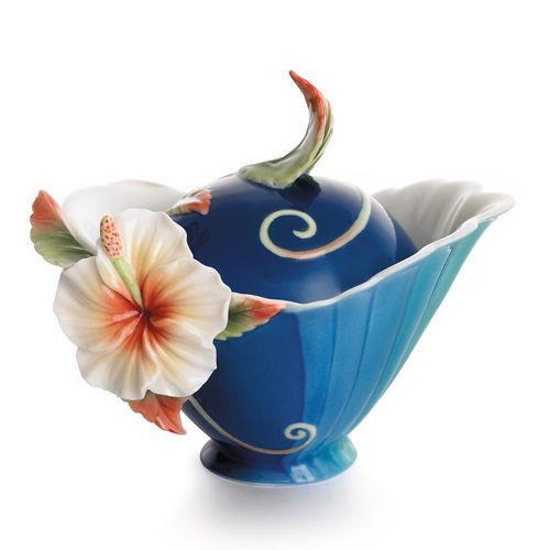 Franz Porcelain Tropical Beauty Hibiscus Flower Sugar Jar With Cover FZ01782
