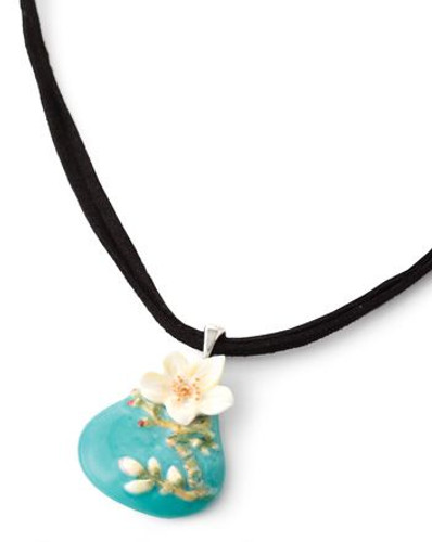 Franz Porcelain Van Gogh Almond Flower Rhodium Plated Brass & Porcelain Necklace FJ00249