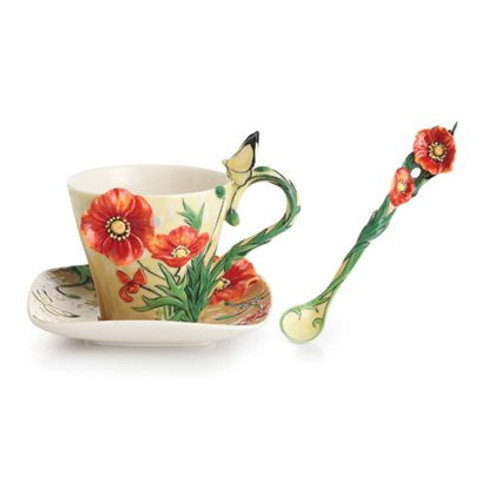 Franz Porcelain Van Gogh Poppy Flower Cup Saucer Spoon Set FZ02455