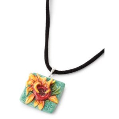 Franz Porcelain Van Gogh Sunflowers Rhodium Plated Brass & Porcelain Necklace FJ00248