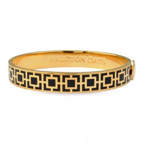 Halcyon Days 10Mm Mosaic Bangle Bracelet Black Gold